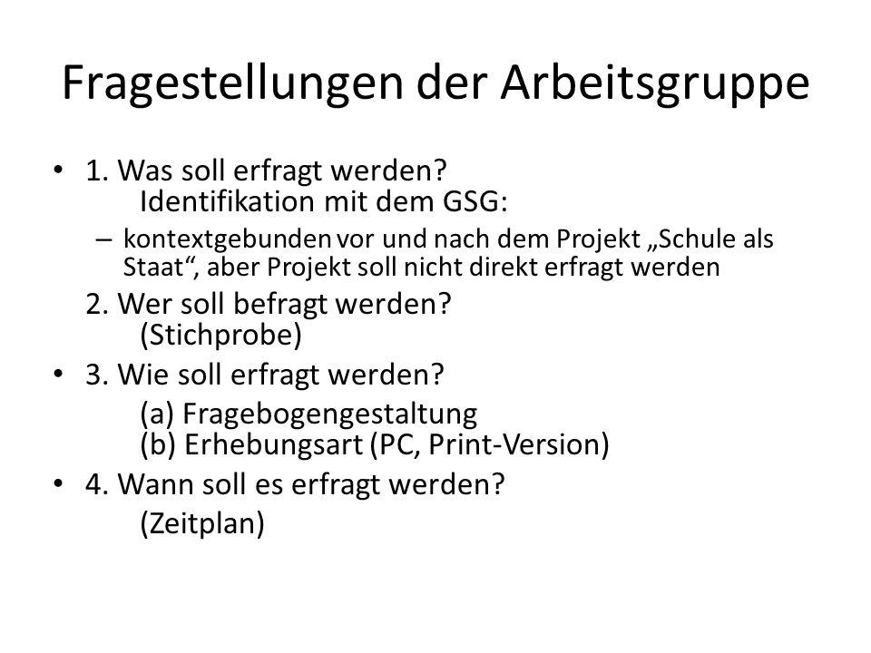 Fragestellungen der Arbeitsgruppe 1.Was soll erfragt werden.
