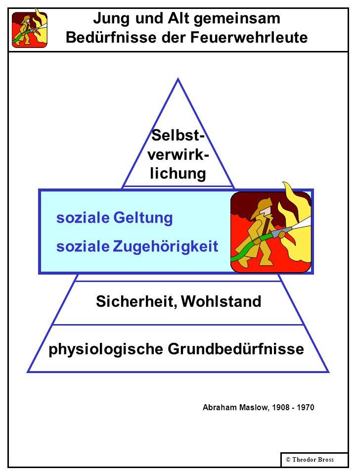 © Theodor Bross physiologische Grundbedürfnisse Sicherheit, Wohlstand soziale Zugehörigkeit soziale Geltung Selbst- verwirk- lichung Abraham Maslow, 1