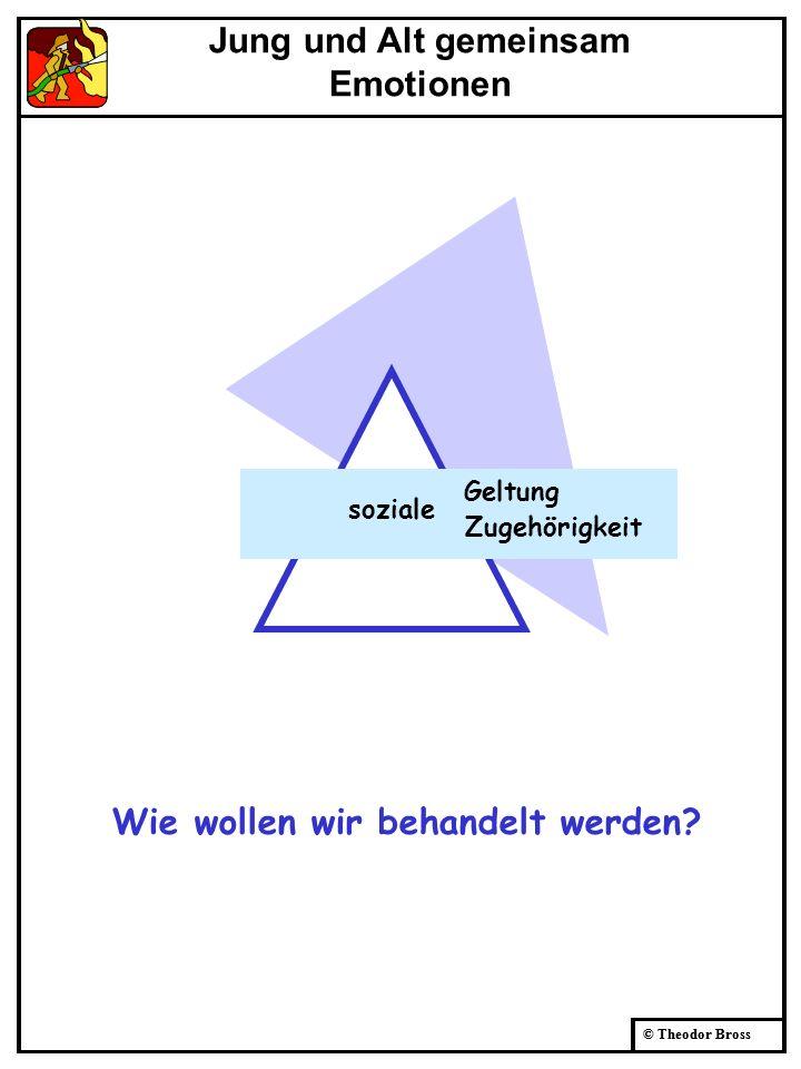 © Theodor Bross soziale Geltung Zugehörigkeit Wie wollen wir behandelt werden? Jung und Alt gemeinsam Emotionen