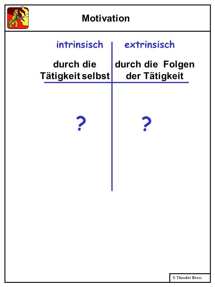© Theodor Bross Motivation intrinsischextrinsisch ? ? durch die Tätigkeit selbst durch die Folgen der Tätigkeit