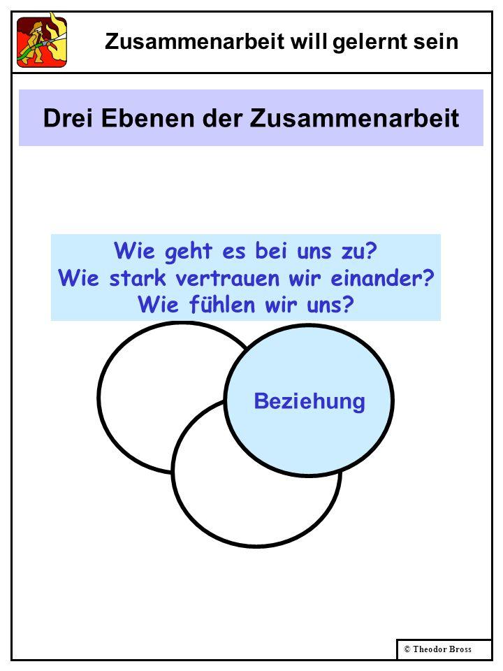© Theodor Bross Drei Ebenen der Zusammenarbeit Beziehung Wie geht es bei uns zu? Wie stark vertrauen wir einander? Wie fühlen wir uns? Zusammenarbeit