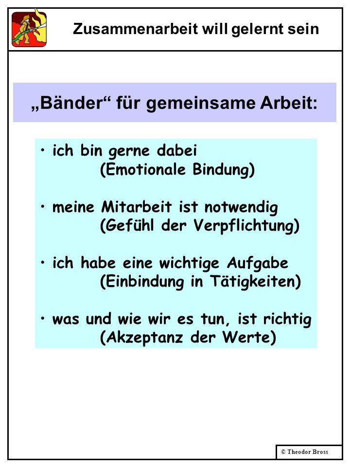 © Theodor Bross Bänder für gemeinsame Arbeit: ich bin gerne dabei (Emotionale Bindung) meine Mitarbeit ist notwendig (Gefühl der Verpflichtung) ich ha