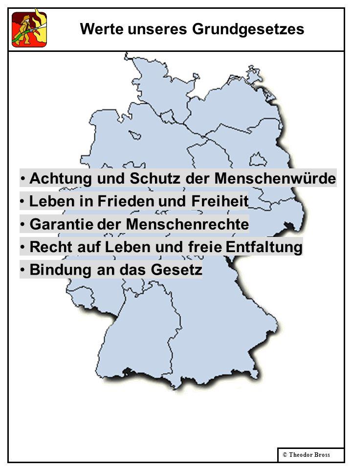 © Theodor Bross Achtung und Schutz der Menschenwürde Leben in Frieden und Freiheit Garantie der Menschenrechte Recht auf Leben und freie Entfaltung Bi