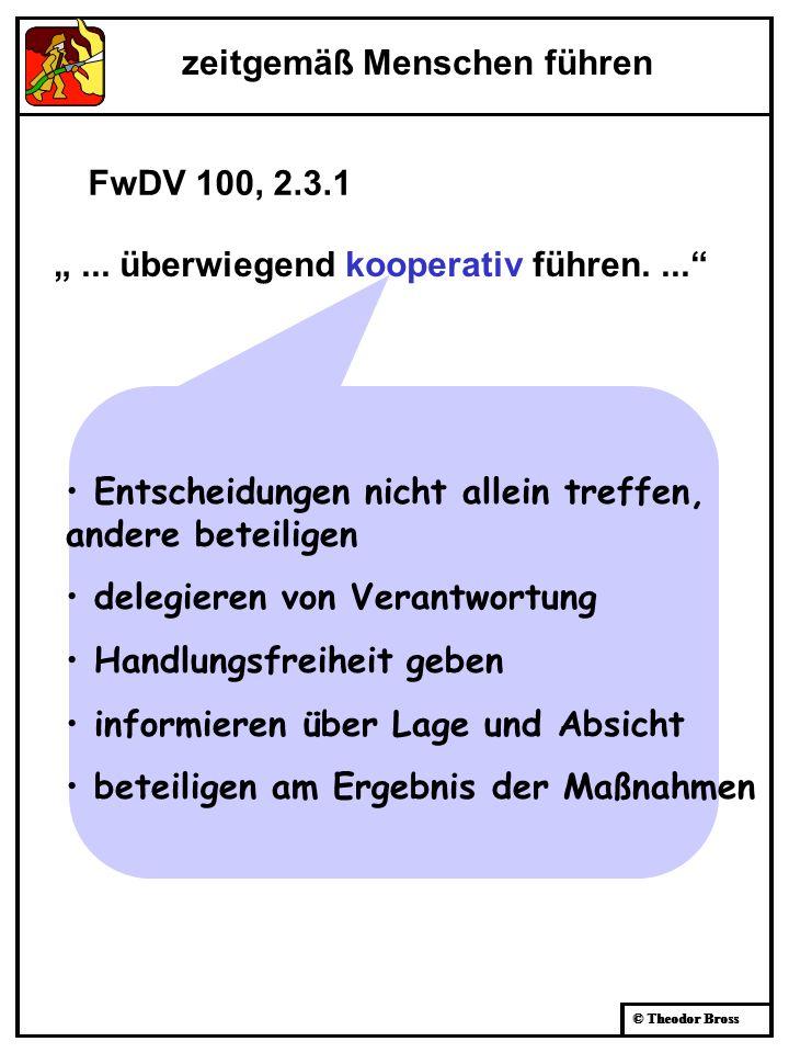 © Theodor Bross zeitgemäß Menschen führen... überwiegend kooperativ führen.... Entscheidungen nicht allein treffen, andere beteiligen delegieren von V