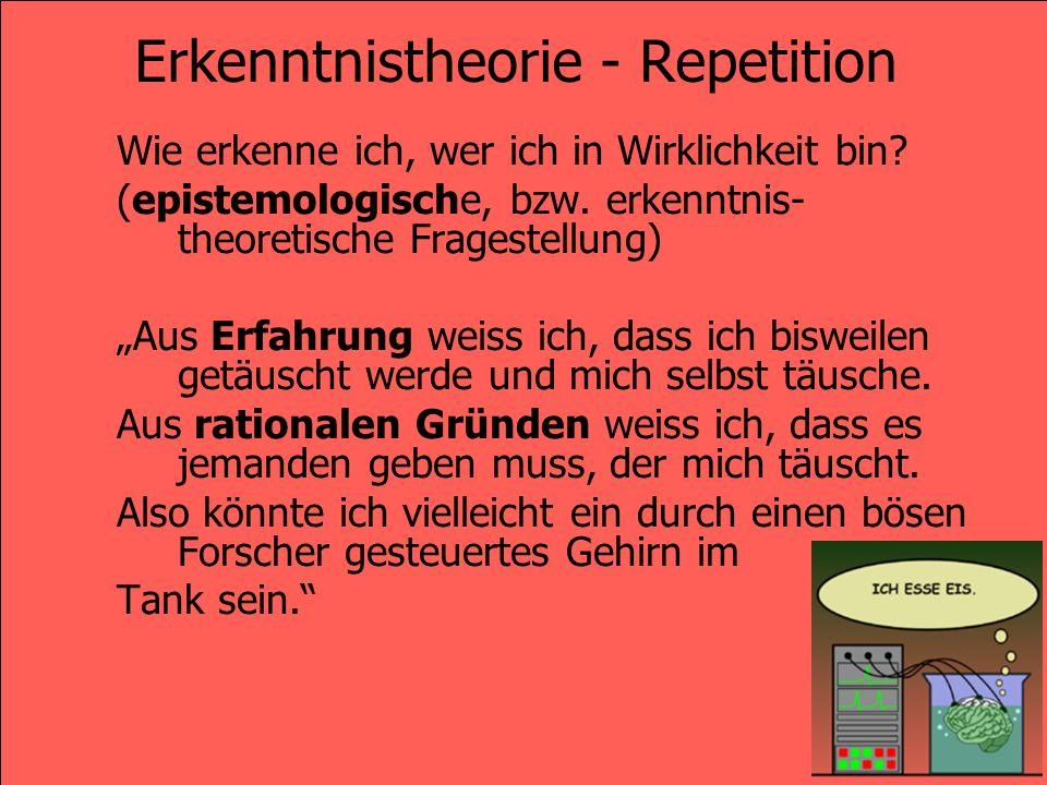 Erkenntnistheorie - Repetition Wie bedeutet es, wenn ich sage, wer ich in Wirklichkeit bin.