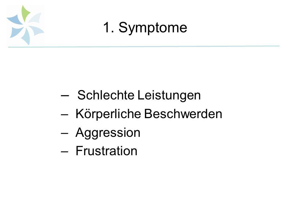 1. Symptome – Schlechte Leistungen – Körperliche Beschwerden – Aggression – Frustration