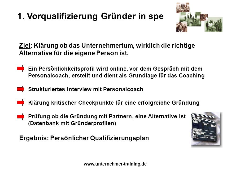 www.unternehmer-training.de 1. Vorqualifizierung Gründer in spe Ziel: Klärung ob das Unternehmertum, wirklich die richtige Alternative für die eigene