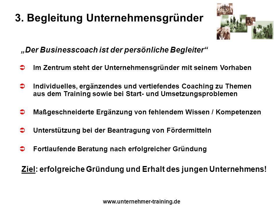 www.unternehmer-training.de 3. Begleitung Unternehmensgründer Der Businesscoach ist der persönliche Begleiter Im Zentrum steht der Unternehmensgründer