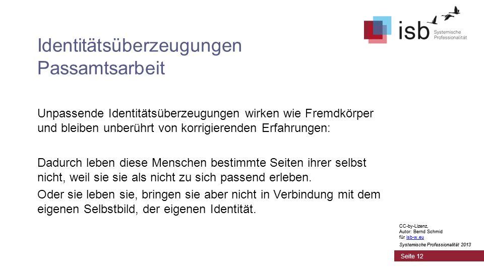 CC-by-Lizenz, Autor: Bernd Schmid für isb-w.euisb-w.eu Systemische Professionalität 2013 Seite 12 Identitätsüberzeugungen Passamtsarbeit Unpassende Id