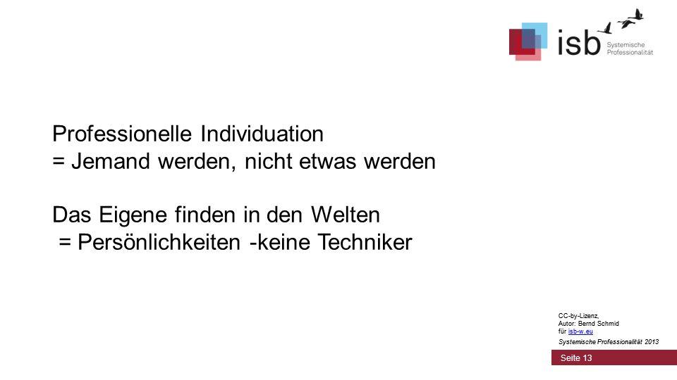 CC-by-Lizenz, Autor: Bernd Schmid für isb-w.euisb-w.eu Systemische Professionalität 2013 Seite 13 Professionelle Individuation = Jemand werden, nicht