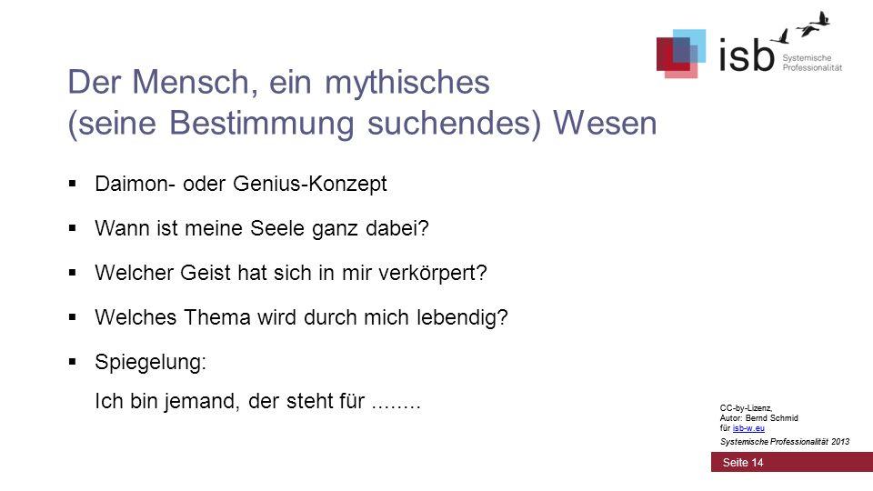 CC-by-Lizenz, Autor: Bernd Schmid für isb-w.euisb-w.eu Systemische Professionalität 2013 Seite 14 Der Mensch, ein mythisches (seine Bestimmung suchend