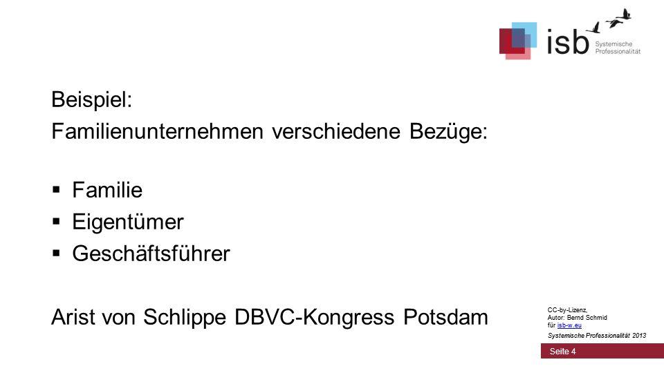 CC-by-Lizenz, Autor: Bernd Schmid für isb-w.euisb-w.eu Systemische Professionalität 2013 Seite 4 Beispiel: Familienunternehmen verschiedene Bezüge: Fa