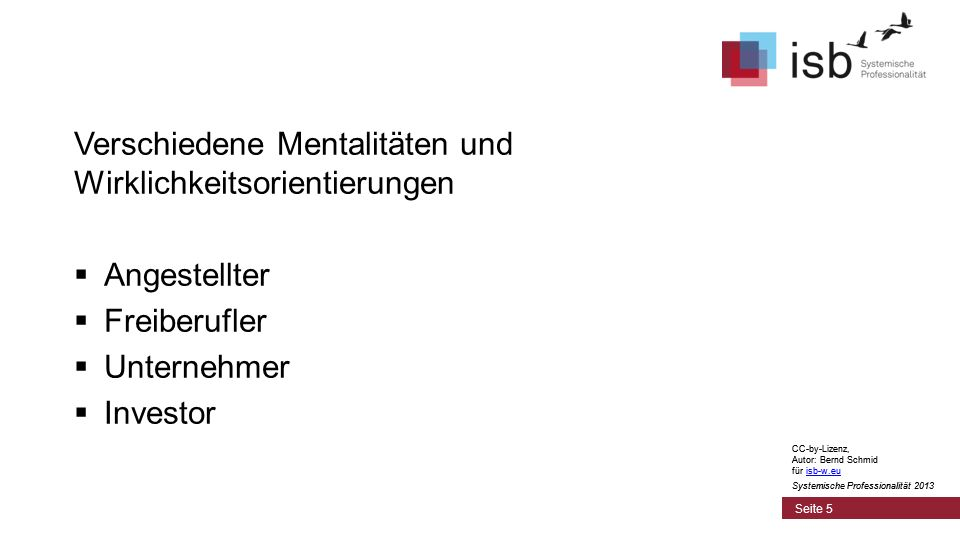 CC-by-Lizenz, Autor: Bernd Schmid für isb-w.euisb-w.eu Systemische Professionalität 2013 Seite 5 Verschiedene Mentalitäten und Wirklichkeitsorientieru