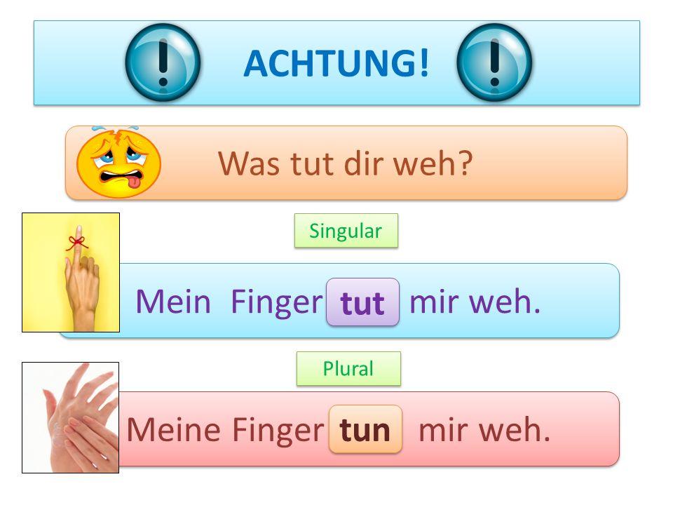 ACHTUNG! Mein Finger mir weh. Meine Finger mir weh. Singular Plural Was tut dir weh? tut tun
