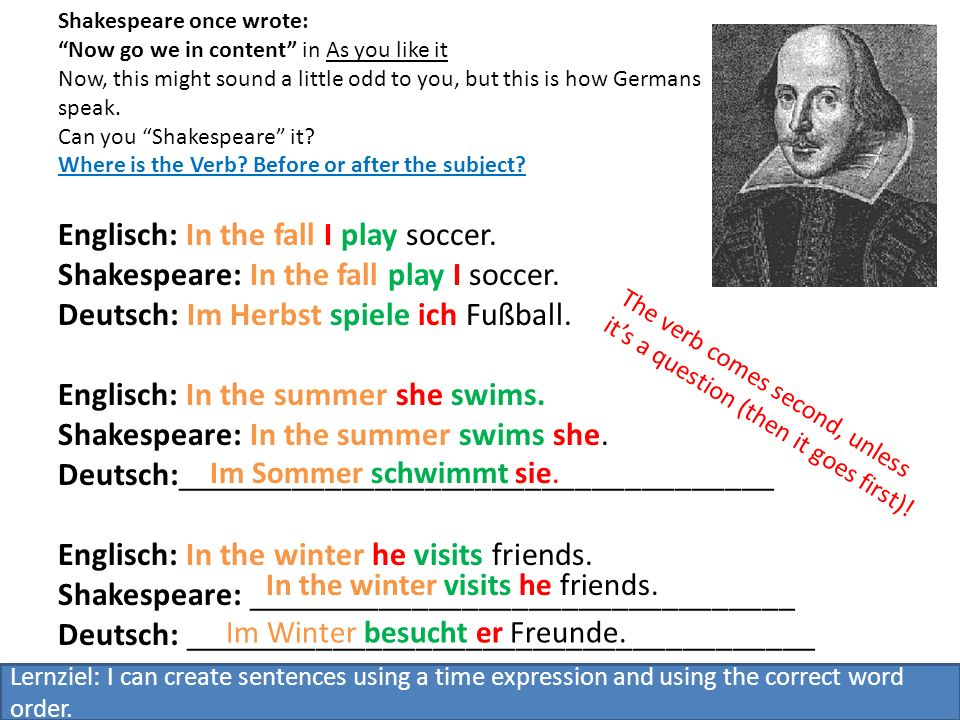 Shakespeare it.Englisch: In the winter I draw.