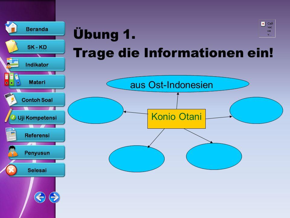 Übung 1. Trage die Informationen ein! Konio Otani aus Ost-Indonesien