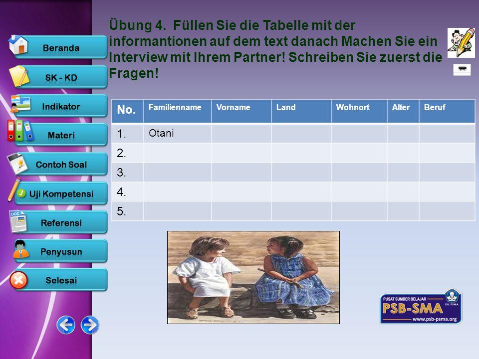 www.psb-psma.org Übung 4. Füllen Sie die Tabelle mit der informantionen auf dem text danach Machen Sie ein Interview mit Ihrem Partner! Schreiben Sie