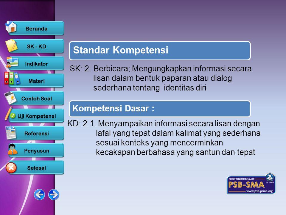 Standar Kompetensi Kompetensi Dasar : SK: 2. Berbicara; Mengungkapkan informasi secara lisan dalam bentuk paparan atau dialog sederhana tentang identi