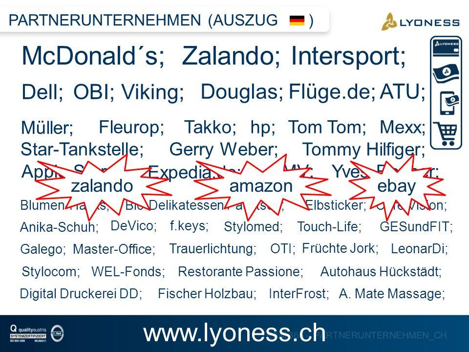 TEAM 365 – PARTNERUNTERNEHMEN_CH McDonald´s; Zalando; Intersport; Dell; Douglas; Flüge.de; ATU; Viking;OBI; Müller; Fleurop;Takko;hp; Gerry Weber; App