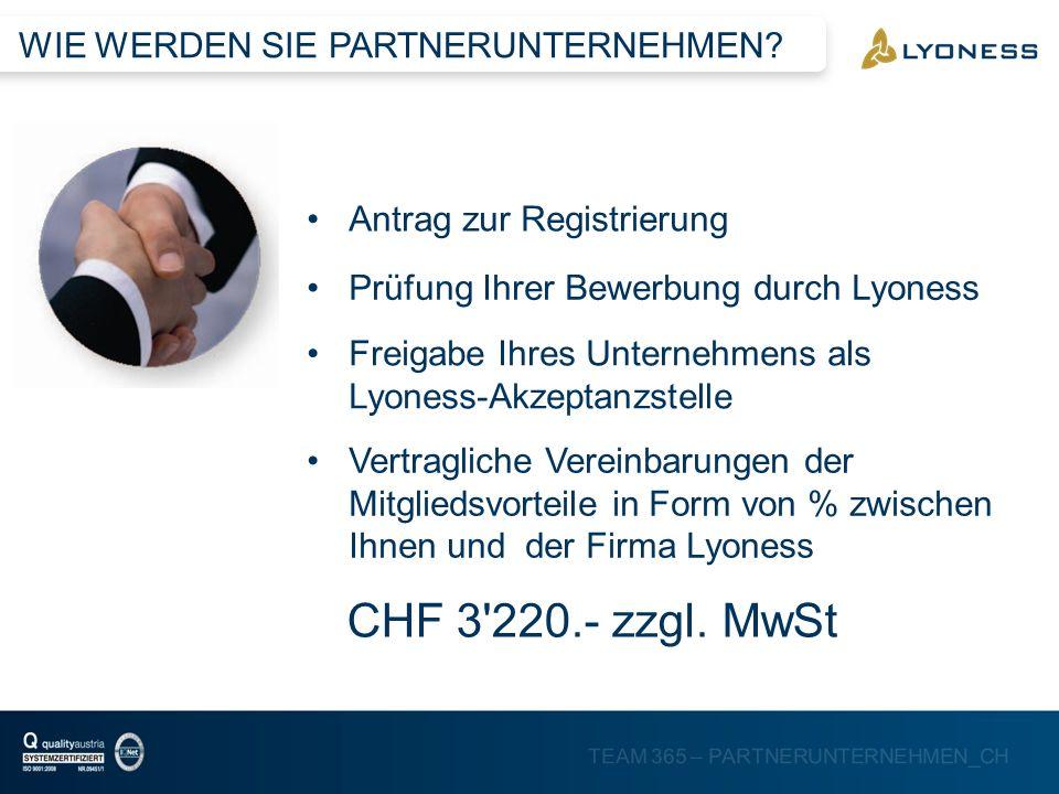 TEAM 365 – PARTNERUNTERNEHMEN_CH Antrag zur Registrierung Prüfung Ihrer Bewerbung durch Lyoness Freigabe Ihres Unternehmens als Lyoness-Akzeptanzstell