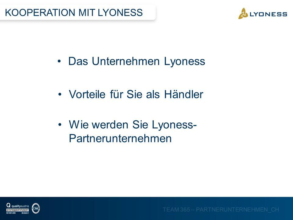 TEAM 365 – PARTNERUNTERNEHMEN_CH Das Unternehmen Lyoness Wie werden Sie Lyoness- Partnerunternehmen Vorteile für Sie als Händler KOOPERATION MIT LYONE