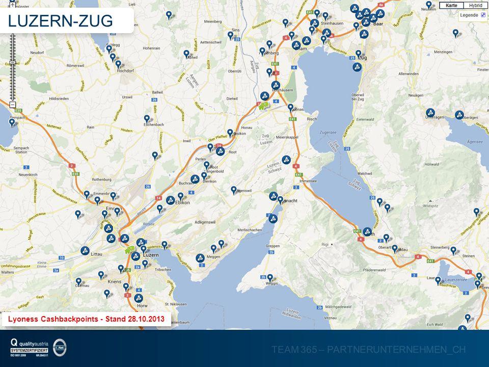 TEAM 365 – PARTNERUNTERNEHMEN_CH Lyoness Cashbackpoints - Stand 28.10.2013 LUZERN-ZUG