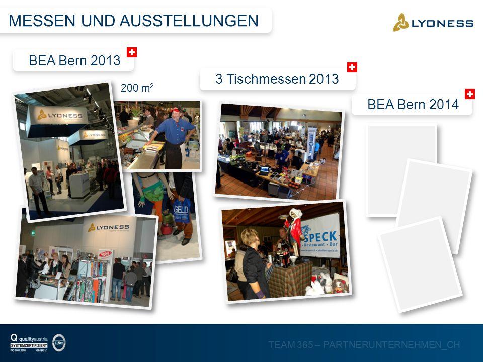 TEAM 365 – PARTNERUNTERNEHMEN_CH MESSEN UND AUSSTELLUNGEN BEA Bern 2013BEA Bern 20143 Tischmessen 2013 200 m 2