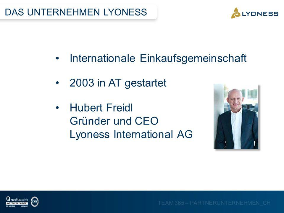 TEAM 365 – PARTNERUNTERNEHMEN_CH Internationale Einkaufsgemeinschaft 2003 in AT gestartet Hubert Freidl Gründer und CEO Lyoness International AG DAS U