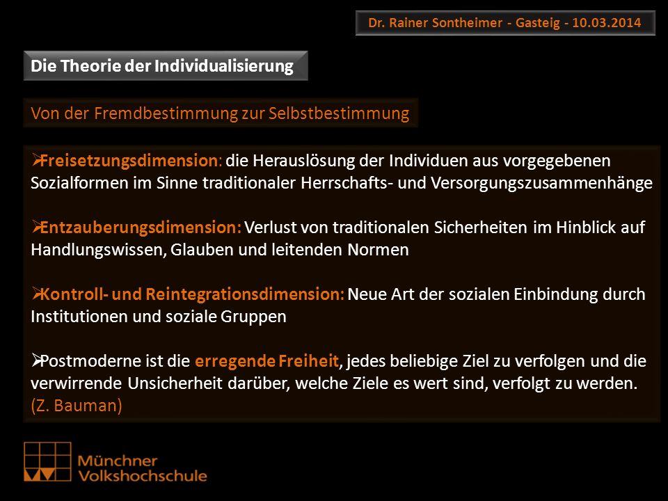 Dr. Rainer Sontheimer - Gasteig - 10.03.2014 Die Theorie der Individualisierung Freisetzungsdimension: die Herauslösung der Individuen aus vorgegebene