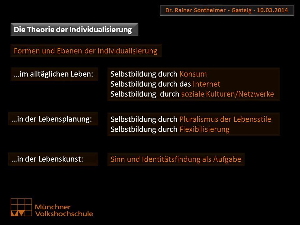 Dr. Rainer Sontheimer - Gasteig - 10.03.2014 Die Theorie der Individualisierung Selbstbildung durch Pluralismus der Lebensstile Selbstbildung durch Fl
