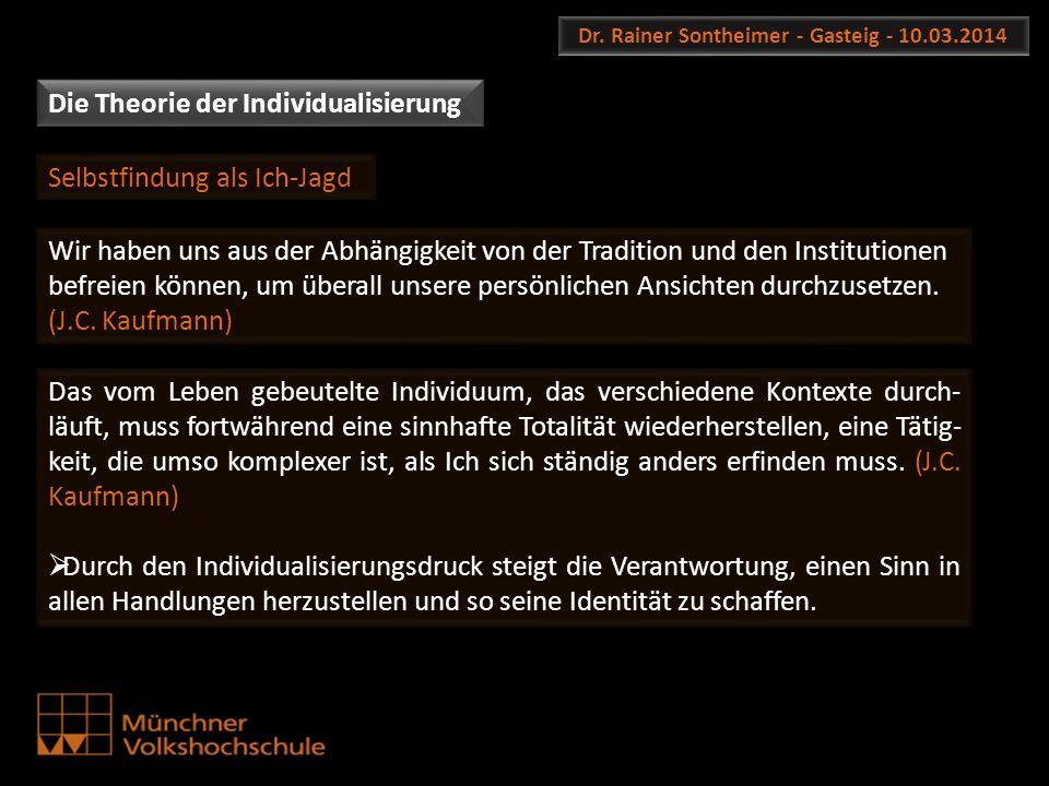 Dr. Rainer Sontheimer - Gasteig - 10.03.2014 Die Theorie der Individualisierung Wir haben uns aus der Abhängigkeit von der Tradition und den Instituti