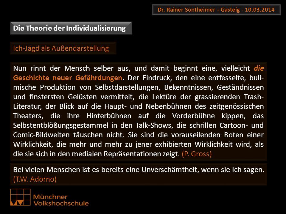 Dr. Rainer Sontheimer - Gasteig - 10.03.2014 Die Theorie der Individualisierung Nun rinnt der Mensch selber aus, und damit beginnt eine, vielleicht di