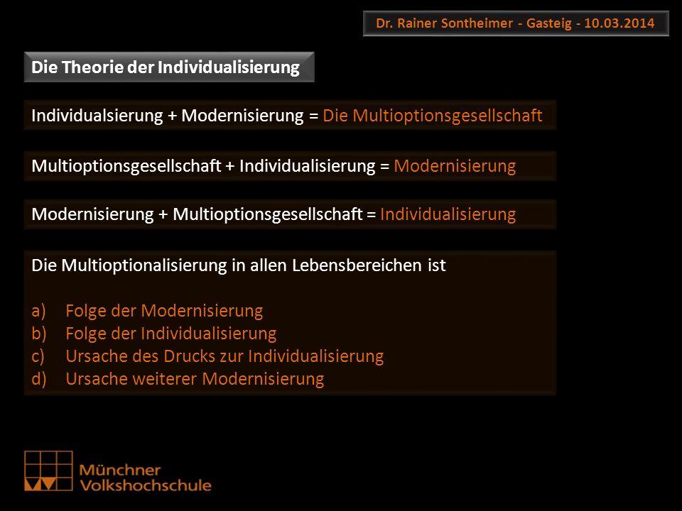 Dr. Rainer Sontheimer - Gasteig - 10.03.2014 Die Theorie der Individualisierung Individualsierung + Modernisierung = Die Multioptionsgesellschaft Mult