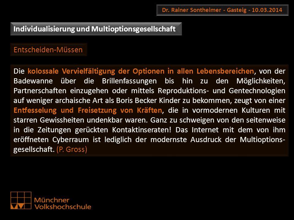 Dr. Rainer Sontheimer - Gasteig - 10.03.2014 Individualisierung und Multioptionsgesellschaft Die kolossale Vervielfältigung der Optionen in allen Lebe
