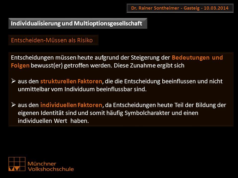 Dr. Rainer Sontheimer - Gasteig - 10.03.2014 Entscheidungen müssen heute aufgrund der Steigerung der Bedeutungen und Folgen bewusst(er) getroffen werd
