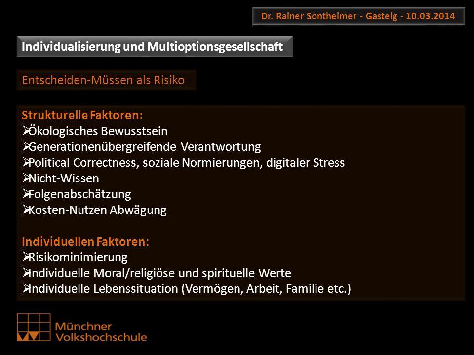 Dr. Rainer Sontheimer - Gasteig - 10.03.2014 Strukturelle Faktoren: Ökologisches Bewusstsein Generationenübergreifende Verantwortung Political Correct
