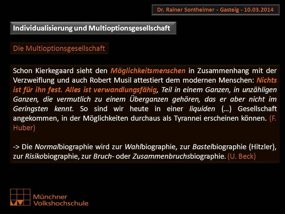 Dr. Rainer Sontheimer - Gasteig - 10.03.2014 Schon Kierkegaard sieht den Möglichkeitsmenschen in Zusammenhang mit der Verzweiflung und auch Robert Mus