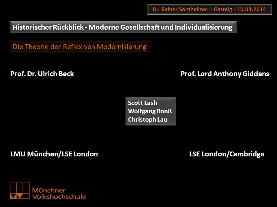 Dr. Rainer Sontheimer - Gasteig - 10.03.2014 Historischer Rückblick - Moderne Gesellschaft und Individualisierung Prof. Dr. Ulrich Beck LMU München/LS