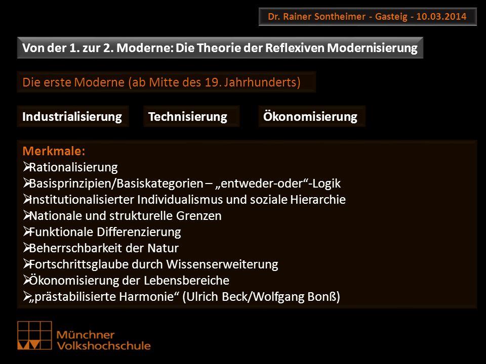 Dr. Rainer Sontheimer - Gasteig - 10.03.2014 Von der 1. zur 2. Moderne: Die Theorie der Reflexiven Modernisierung Die erste Moderne (ab Mitte des 19.