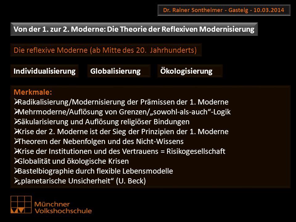 Dr. Rainer Sontheimer - Gasteig - 10.03.2014 Von der 1. zur 2. Moderne: Die Theorie der Reflexiven Modernisierung Die reflexive Moderne (ab Mitte des