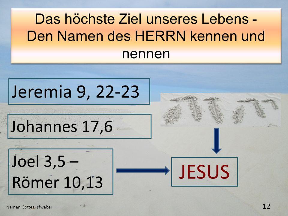 Namen Gottes. sfweber 12 Das höchste Ziel unseres Lebens - Den Namen des HERRN kennen und nennen Das höchste Ziel unseres Lebens - Den Namen des HERRN