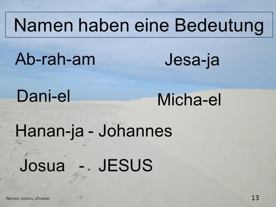Namen haben eine Bedeutung Namen Gottes. sfweber 13 Ab-rah-am Jesa-ja Dani-el Hanan-ja - Johannes Micha-el Josua - JESUS
