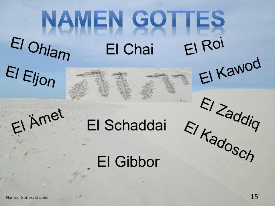 Namen Gottes. sfweber 15 El Ohlam El Chai El Gibbor El Schaddai El Roi El Kawod El Ämet El Zaddiq El Eljon El Kadosch