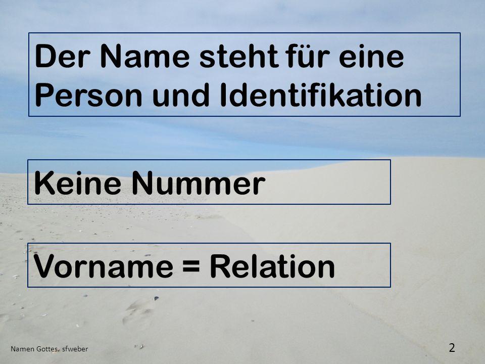 Namen Gottes. sfweber 2 Der Name steht für eine Person und Identifikation Keine Nummer Vorname = Relation