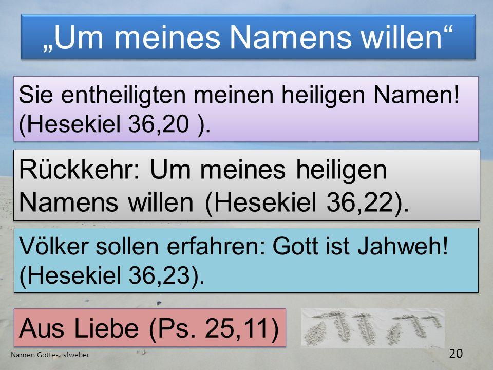 Um meines Namens willen Namen Gottes. sfweber 20 Sie entheiligten meinen heiligen Namen! (Hesekiel 36,20 ). Rückkehr: Um meines heiligen Namens willen