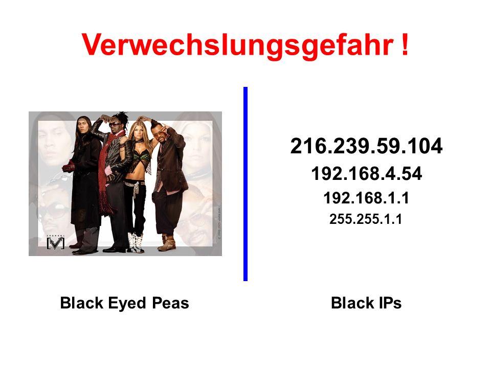 216.239.59.104 192.168.4.54 192.168.1.1 255.255.1.1 Black Eyed PeasBlack IPs Verwechslungsgefahr !
