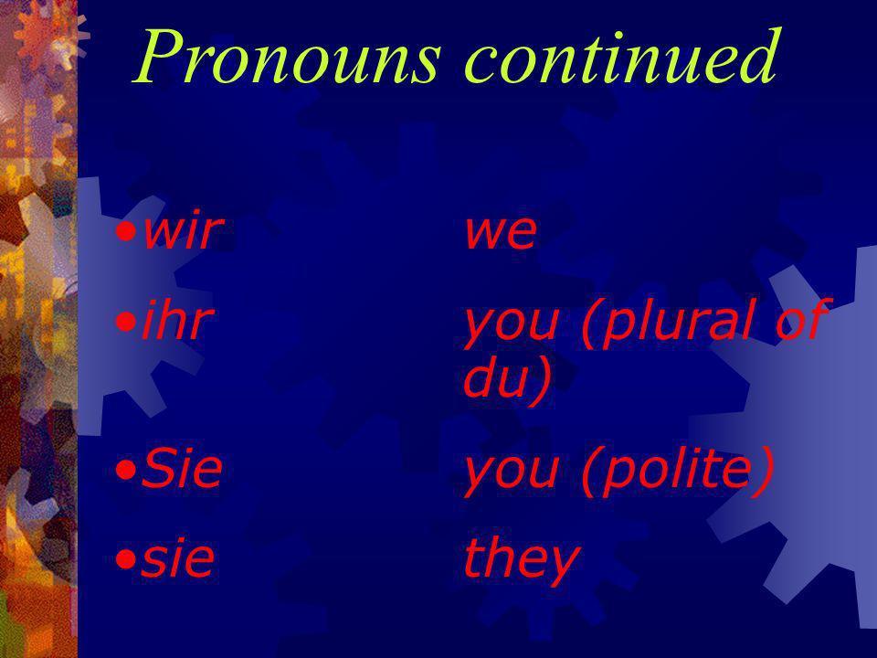Pronouns ichI duyou erhe sieshe