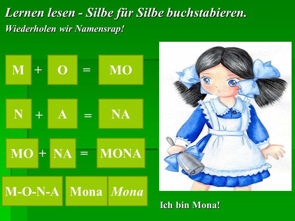 Lernen lesen - Silbe für Silbe buchstabieren. Wiederholen wir Namensrap! MOMO += NANA + = MO NA += MONA Mona M-O-N-A Ich bin Mona!