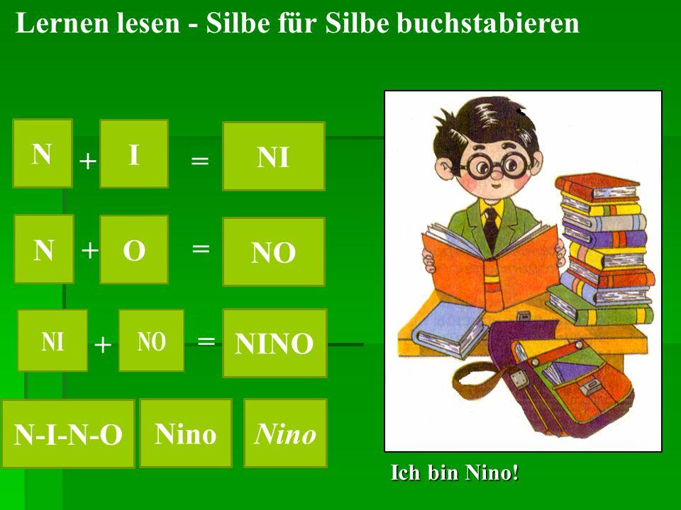 Ich bin Nino! Lernen lesen - Silbe für Silbe buchstabieren N NI NO NINO N-I-N-O Nino + + + = = =