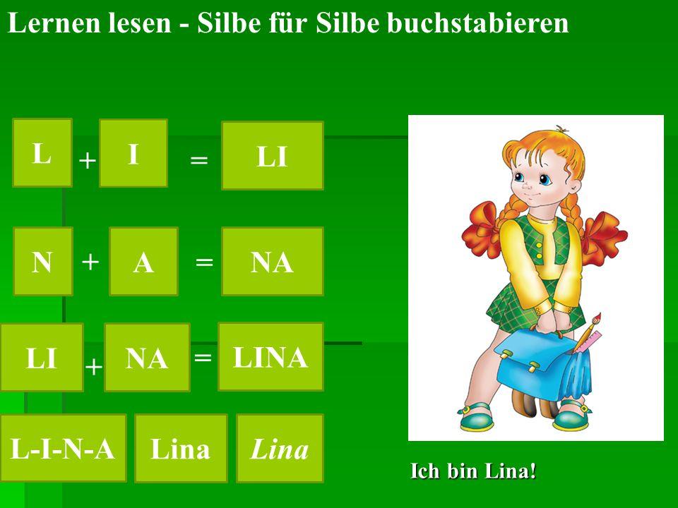 Ich bin Lina! Lernen lesen - Silbe für Silbe buchstabieren L LI NANA LINA LINA L-I-N-A Lina + + + = = =